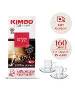Promo 160 capsule Kimbo Napoli+ 2 tazzine in vetro con piattino