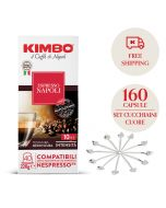 Promo 160 capsule Kimbo Napoli + 12 cucchiaini cuore